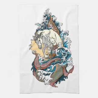 mythological seahorse tea towel