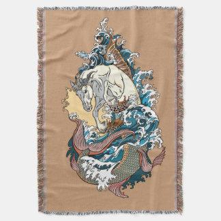 mythological seahorse throw blanket