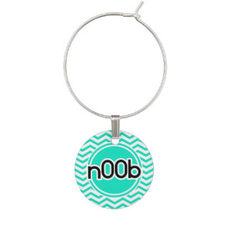 n00b; Aqua Green Chevron Wine Charm
