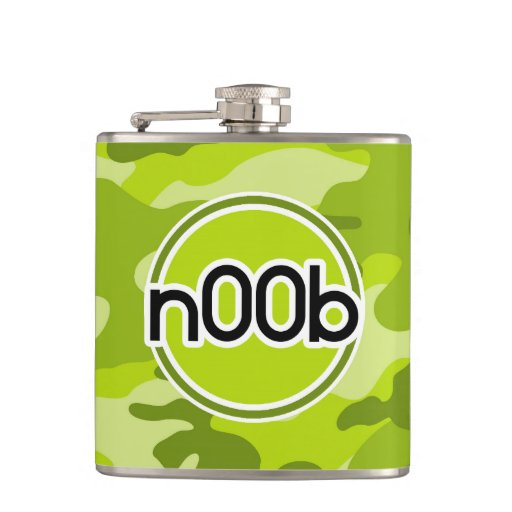 n00b; bright green camo, camouflage hip flask