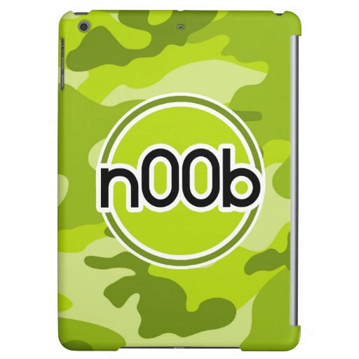 n00b; bright green camo, camouflage cover for iPad air