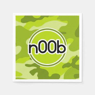 n00b; bright green camo, camouflage disposable napkin