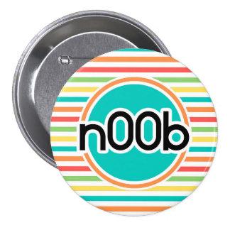 n00b Bright Rainbow Stripes Button