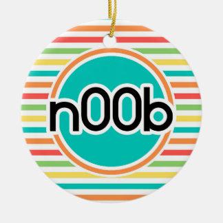 n00b, Bright Rainbow Stripes Round Ceramic Decoration