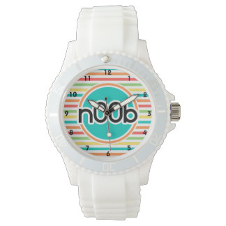 n00b, Bright Rainbow Stripes Wrist Watches