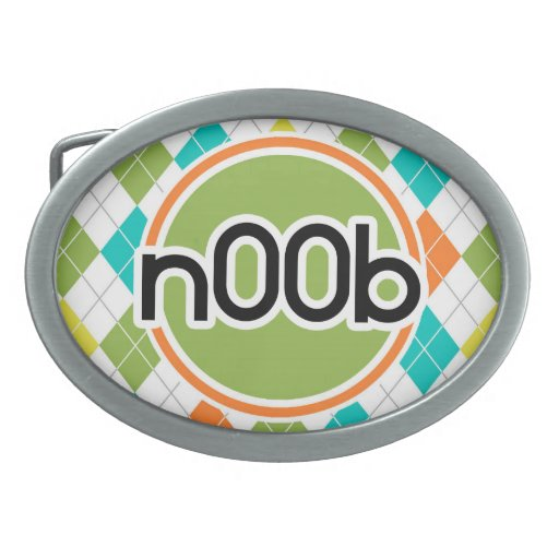 n00b; Colorful Argyle Pattern Oval Belt Buckle