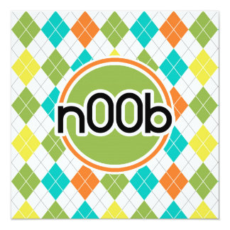 "n00b; Colorful Argyle Pattern 5.25"" Square Invitation Card"