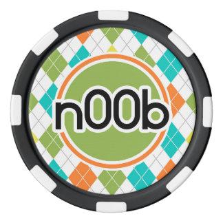 n00b; Colorful Argyle Pattern Poker Chips