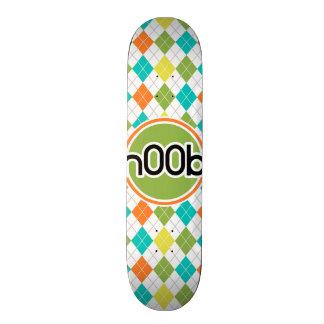 n00b; Colorful Argyle Pattern Skate Board