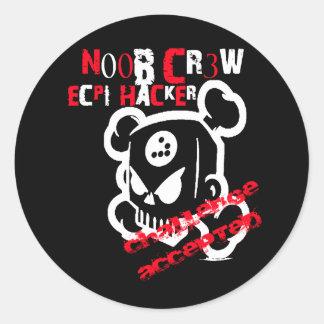 N00B CR3W CLASSIC ROUND STICKER