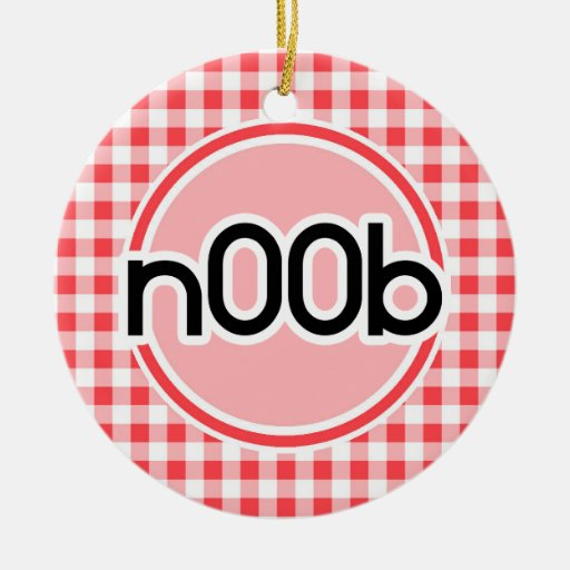 n00b; Red and White Gingham Ornament