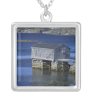 N.A., Canada, Newfoundland, Durrell. Fishing Square Pendant Necklace
