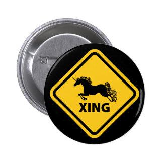 N.A.U.B Unicorn Crossing Sign 6 Cm Round Badge