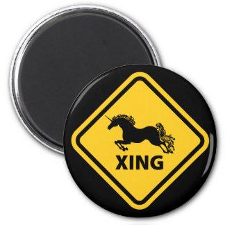 N.A.U.B Unicorn Crossing Sign 6 Cm Round Magnet