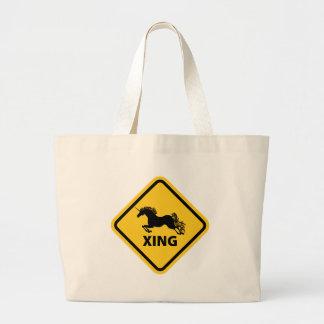 N.A.U.B Unicorn Crossing Sign Jumbo Tote Bag