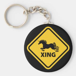 N.A.U.B Unicorn Crossing Sign Basic Round Button Key Ring
