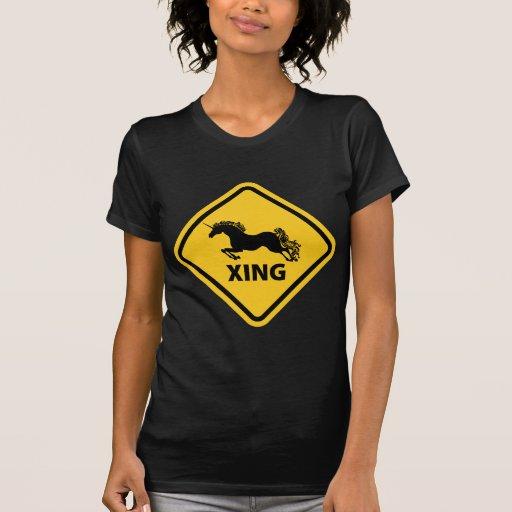 N.A.U.B Unicorn Crossing Sign Tshirts