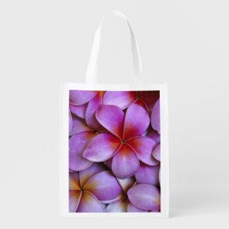 N.A., USA, Maui, Hawaii. Pink Plumeria blossoms. Reusable Grocery Bag