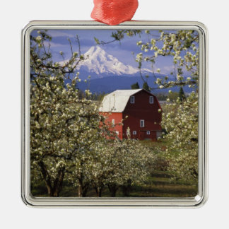 N.A., USA, Oregon, Hood River County. Red Silver-Colored Square Decoration