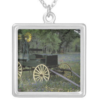 N.A., USA, Texas, Devine, Old wagon and Square Pendant Necklace