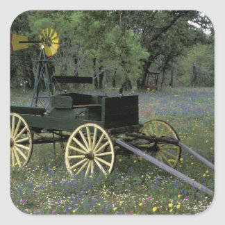 N.A., USA, Texas, Devine, Old wagon and Square Sticker