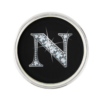 """N Faux-""""Diamond Bling"""" Lapel Pin"""