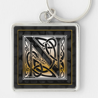 "N Initial ""Celtic Black Stone"" Key Chain"