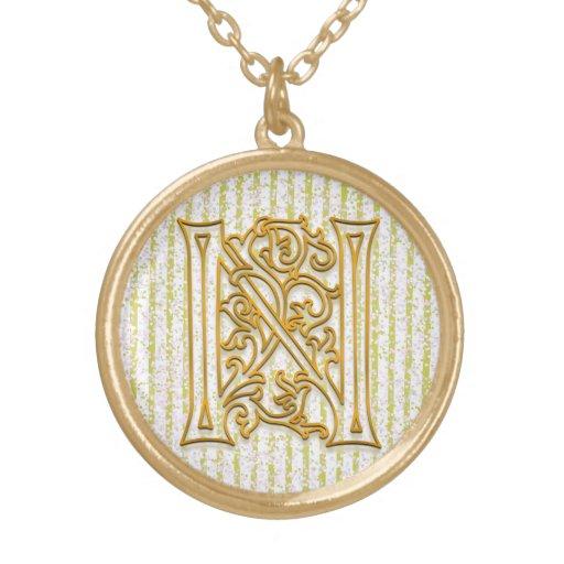 "N Initial Monogram ""Gold Pin Stripe"" Necklace Pendants"