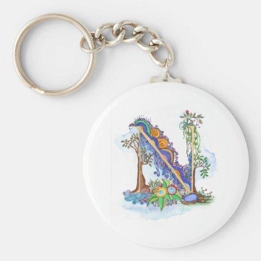 N, initial, monogram, wedding key chain