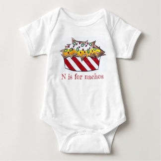 N is for Nachos Cheese Nacho Foodie ABCs Letter N Baby Bodysuit