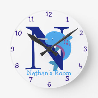 N is for Narwhal and Nathan-Child's Bedroom Round Clock