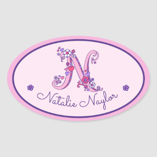 N letter monogram custom name id pink stickers