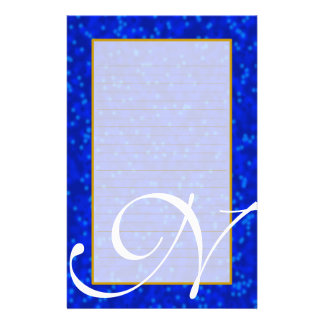 "N Monogram ""Blue Bubbles"" Fine Lined Stationery Design"