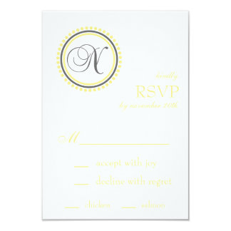 "N Monogram Dot Circle RSVP Cards (Yellow / Gray) 3.5"" X 5"" Invitation Card"