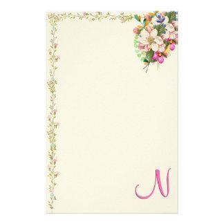 N Monogram Floral Bouquet Stationery Design