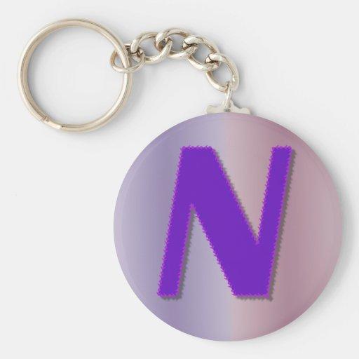 N purple monogram key chain