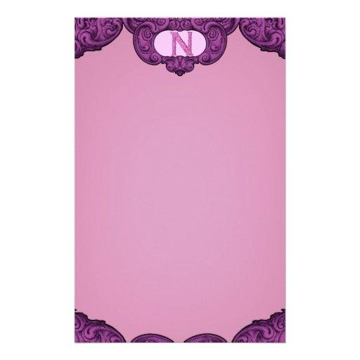 N - The Falck Alphabet (Pink) Custom Stationery