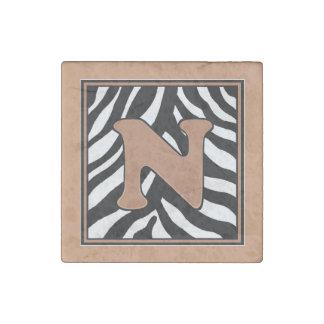 N-Zebra Skin Monogram Stone Magnet
