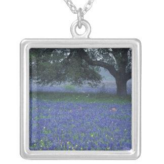 NA, Texas, Devine, Oak and blue bonnets Square Pendant Necklace