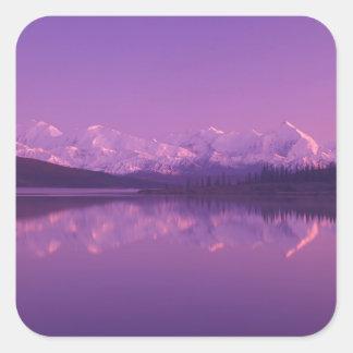 NA, USA, Alaska, Denali NP, Wonder Lake, Evening Square Sticker