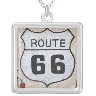 NA, USA, Arizona, Holbrook Route 66 street sign Square Pendant Necklace