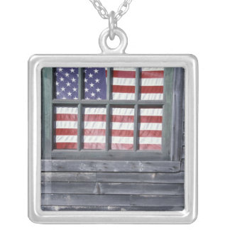 NA, USA, Maine, Georgetown Island. Flag of the Square Pendant Necklace
