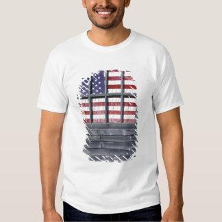 NA, USA, Maine, Georgetown Island. Flag of the T-shirts