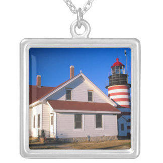 NA, USA, Maine.  West Quoddy lighthouse near Square Pendant Necklace