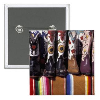 NA, USA, New Mexico, Santa Fe. Cowboy boots 15 Cm Square Badge