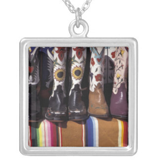 NA, USA, New Mexico, Santa Fe. Cowboy boots Square Pendant Necklace