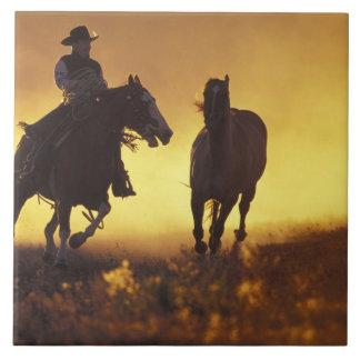NA, USA, Oregon, Seneca, Ponderosa Ranch, Cowboy 3 Ceramic Tile