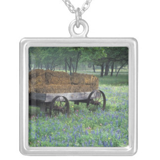 NA, USA, Texas, east of Devine, Old wagon in Square Pendant Necklace