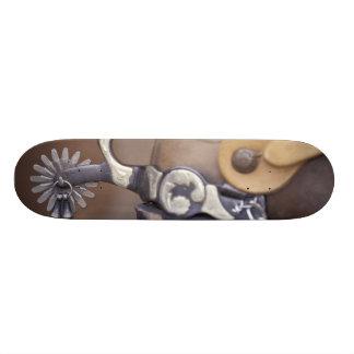 NA, USA, Texas, Lubbock Cowboy boot and spur Custom Skate Board