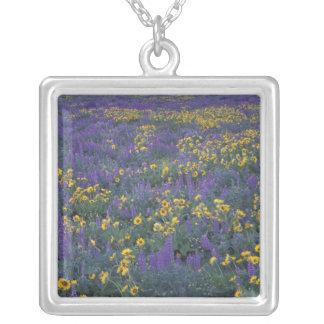 NA, USA, Washington Dalles, Lupine and Square Pendant Necklace